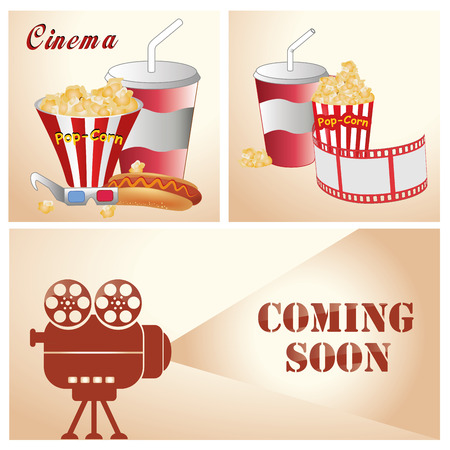 three different backgrounds with some food and a film recorder Vector