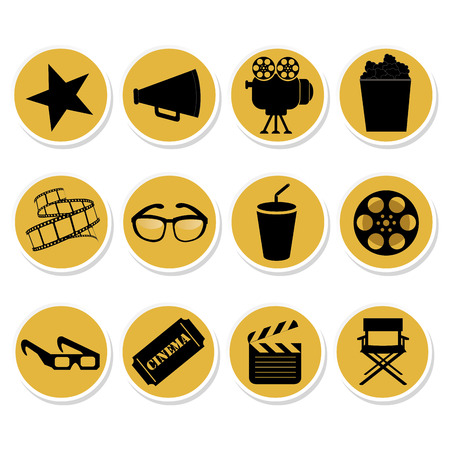 twelve yellow icons with black silhouettes of cinema related objects Vector