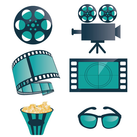 some blue and black objects related to cinema Illustration