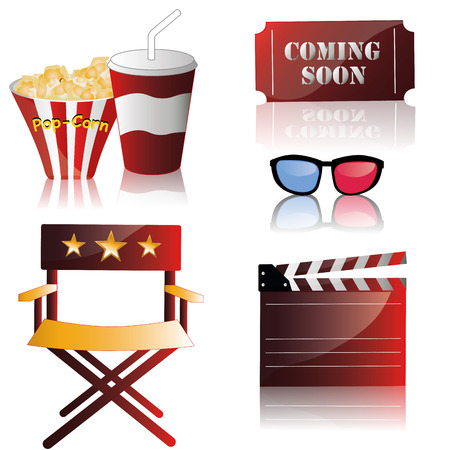 some colored objects like tickets and food related to cinema Vector