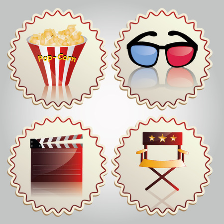 four colored icons with some cinema related objects Vector