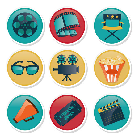 some colored icons with some colored cinema related objects Stock Vector - 26865196