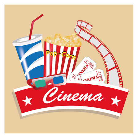 a colored icon with some food and a ribbon with text for cinema Vector