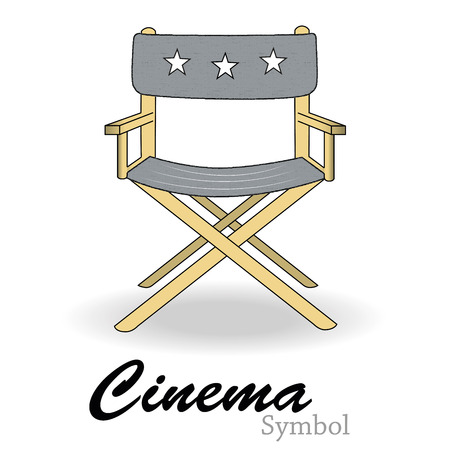 a colored director chair and some text in white background Vector