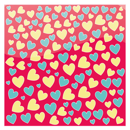 a lot of blue and yellow hearts in red background Ilustracja