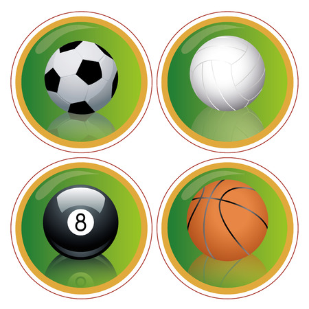 four green icons with some sports balls in white background