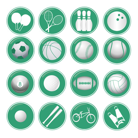 sixteen blue icons with white silhouettes of sports related objects Vector