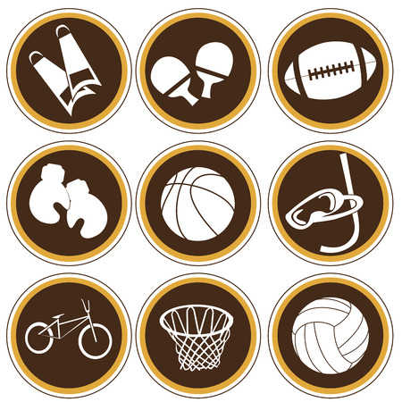 nine brown icons with some white silhouettes of sports related objects Vector