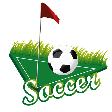 corner flag: a soccer ball in a corner with a flag Illustration