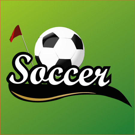 a soccer icon with a corner flag and a ball Vector