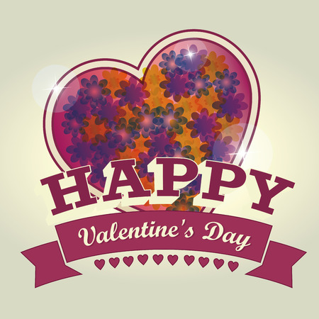 a colored heart with some flowers and a ribbon with text for valentines day Vector
