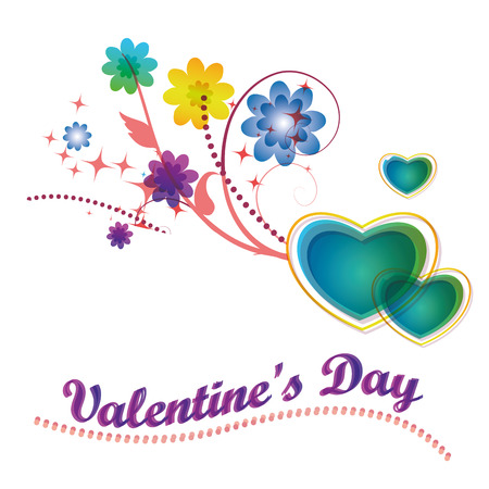 some colored hearts and some colored flowers and some text for valentines day Vector