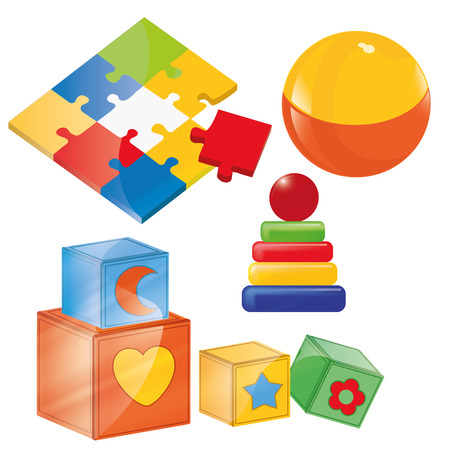 a lot of colored toys in a white background Vector