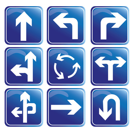 neuf signaux de transit bleus avec des flèches et des directions