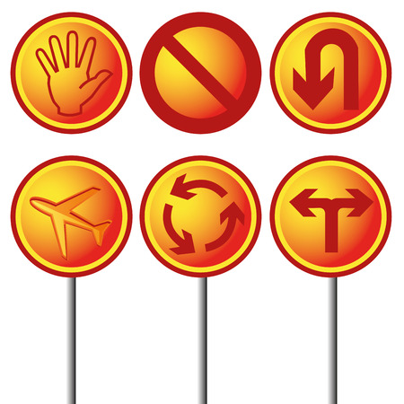 six objects: six orange and yellow transit signals with some objects in it