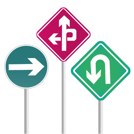 three colored transit signals with some arrows in it Vector