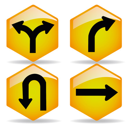 some yellow transit signals with black arrows in it Illustration