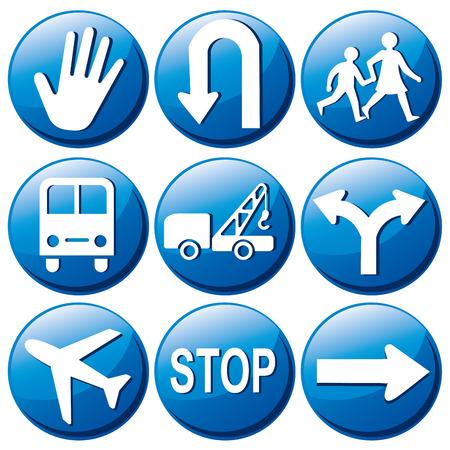 neuf signaux bleu de transit avec des silhouettes blanches des flèches et des symboles