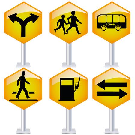 six signaux de transit jaune avec des silhouettes noires en elle Vecteurs