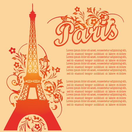 an orange silhouette of the eiffel tower with some text