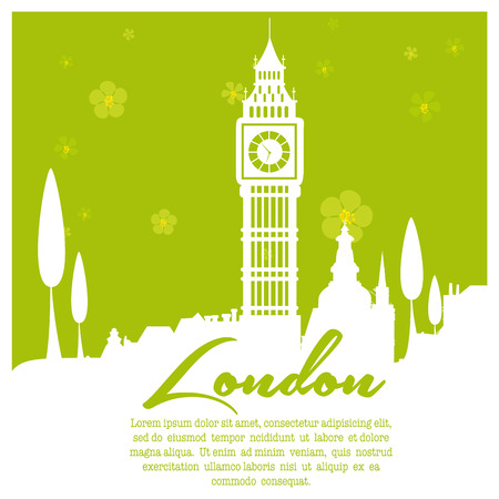 a green background with white silhouettes of london city