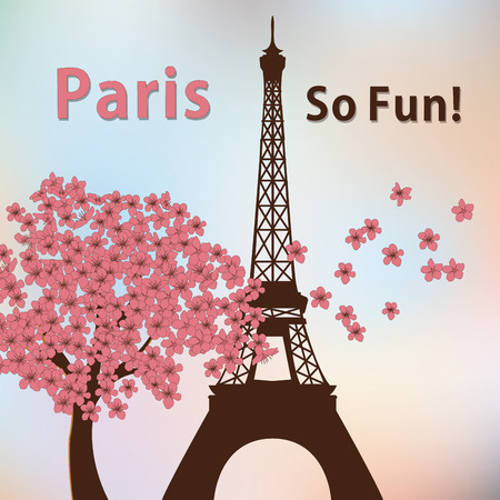 a colored background with the eiffel tower, flowers and some text Illustration