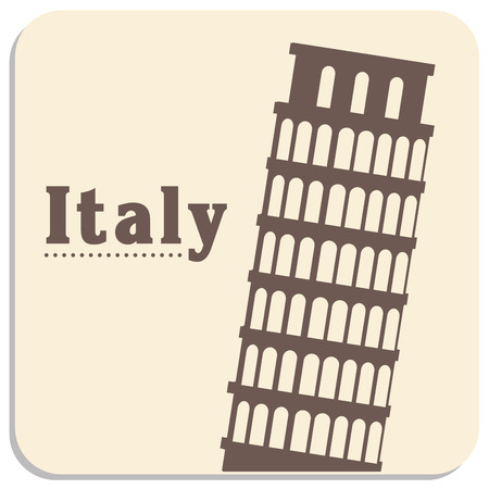 the pisa tower silhouette and some text in a colored background Illustration