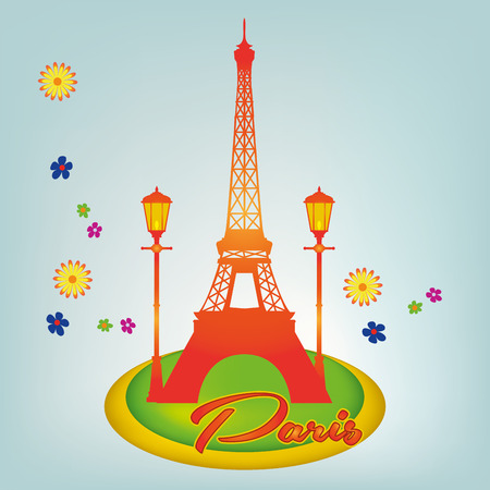 an orange silhouette of the eiffel tower and a pair of lamps in a colored background
