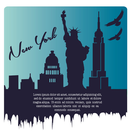 the blue silhouette of the new york city with some birds and text Illustration