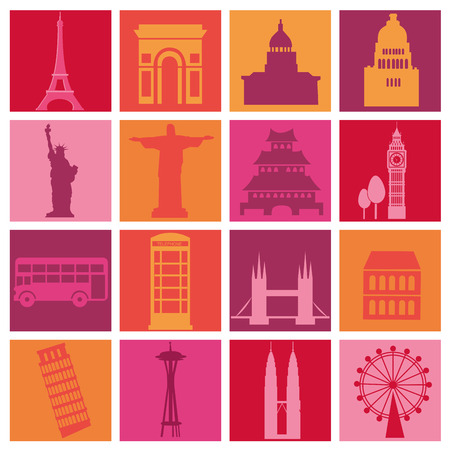 cristo: a lot of silhouettes of places around the world in different backgrounds Illustration