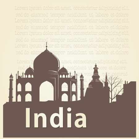a brown silhouette of taj mahal and some text Illustration