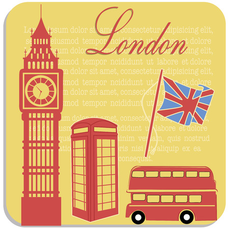 some red silhouettes of buildings and patrimonies from england Vector