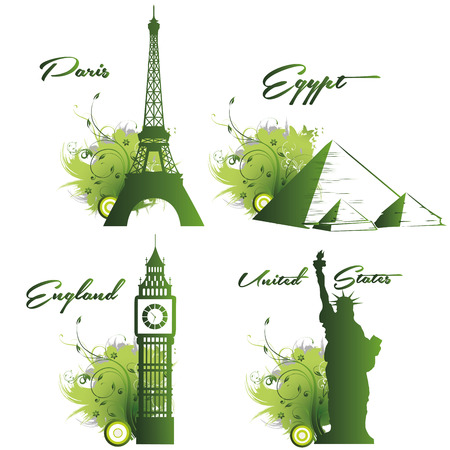 four green silhouettes of beautiful places around the world Illustration