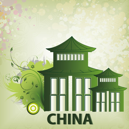 a green chinese silhouette of a building in a beautiful background Illustration