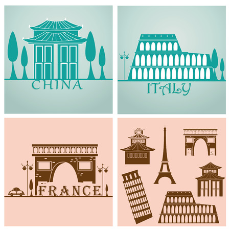 some silhouettes of buildings around the world in two different backgrounds