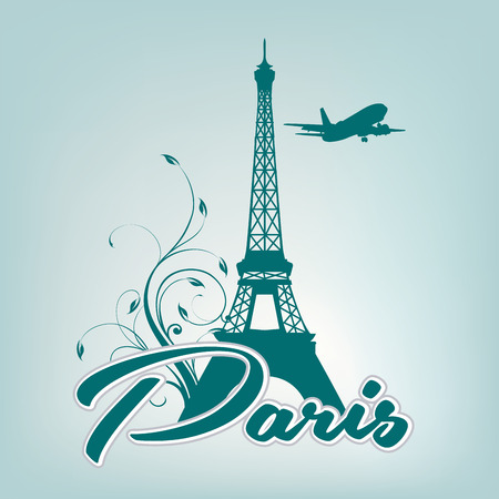 a blue silhouette of the eiffel tower and some text Vector