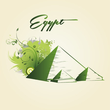 green silhouettes of pyramids with some texture and text  Illustration