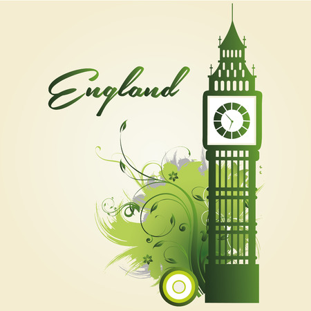 green silhouette of big ben with some textures and text