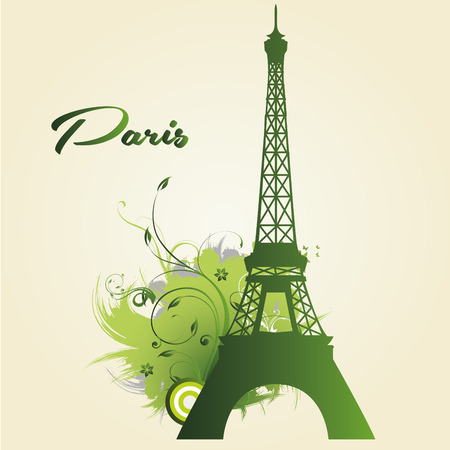 green silhouette of the eiffel tower and some text