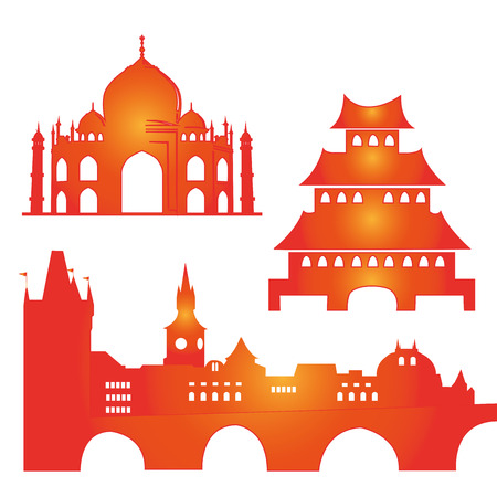 three colored silhouettes of famous buildings around the world