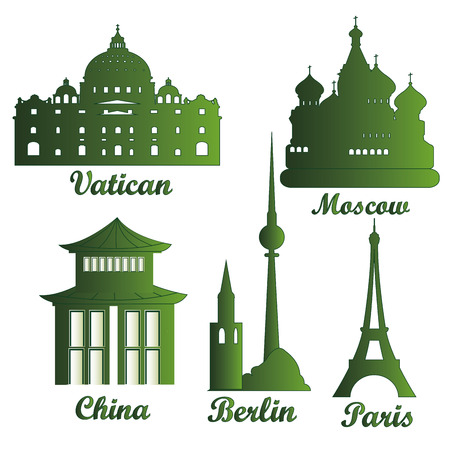some green silhouettes of famous buildings around the world Vector