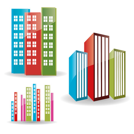 three groups of buildings in a white background Vector