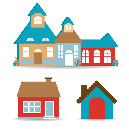 some colored buildings in a white background Vector