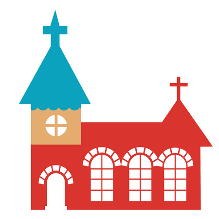 a colored church with some crosses in white background Vector
