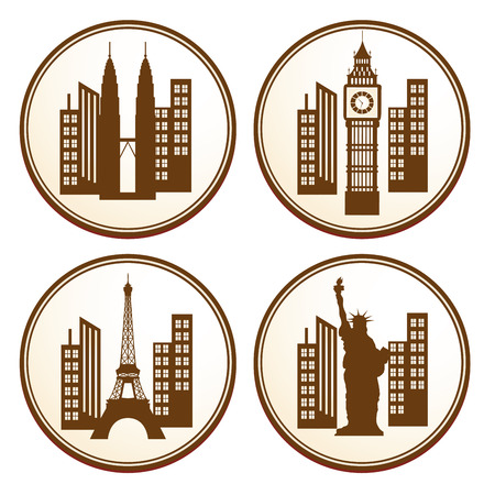 four brown icons with some silhouettes of buildings around the world Vector