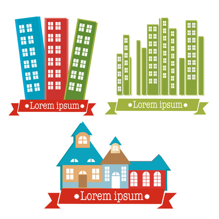 three different building icons with some text and colors Vector