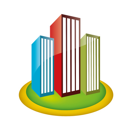 three colored buildings in a park within a white background Vector
