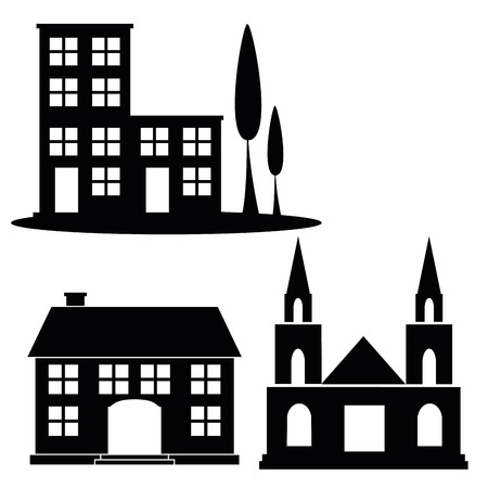 three black silhouettes of some building designs in white background Illustration