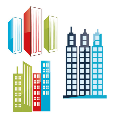 some colored buildings with windows in white background Vector
