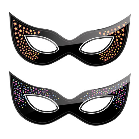 a pair of black carnival masks with some textures in them Vector